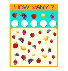how many worksheet with many fruits vector image