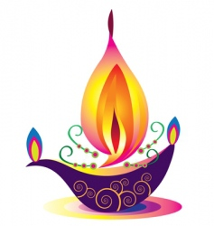 Indian oil lamp vector image