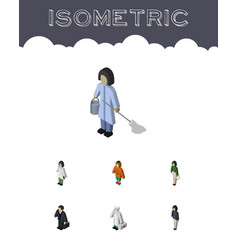 Isometric human set of investor housemaid doctor vector
