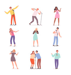 karaoke singers people have fun in music club vector image