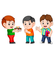 kids celebrating a birthday party vector image