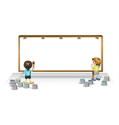 Kids painting white board vector