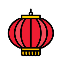 lamp chinese lunar new year filled icon vector image