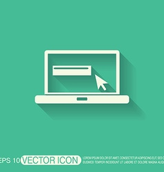 laptop with symbol web arrow vector image