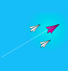 leadership concept with red paper plane leading vector image