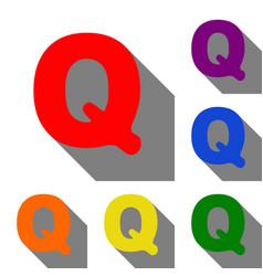 letter q sign design template element set of red vector image
