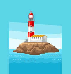 lighthouse on rocky coast vector image