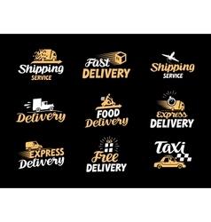logistics and delivery icons set vector image