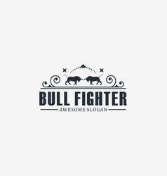 logo bull vintage badge style vector image