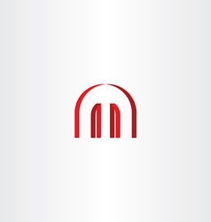 logotype red letter m abstract symbol design vector image