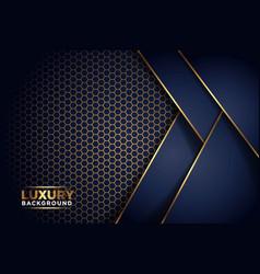 Luxurious dark navy gold line overlap background vector