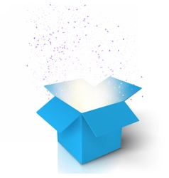 Magic open box magic gift box with light vector