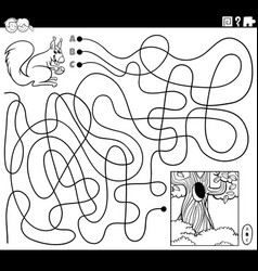 maze with squirrel and hollow coloring book page vector image