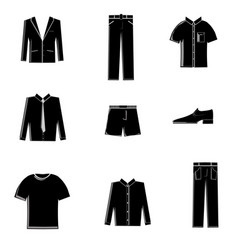 Mens clothing icon set vector