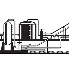 Natural gas and oil hub on pipeline vector image