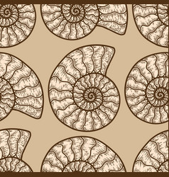 Nautilus cephalopods seamless pattern beige color vector