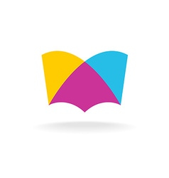 Open book logo Colorful overlay flat style vector