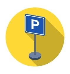 Parking sign icon in flat style isolated on white vector