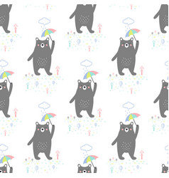 pattern with bear and umbrella vector image