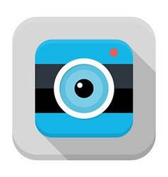 Photo camera flat app icon with long shadow vector image
