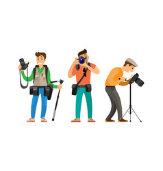 Photographer freelance men taking pictures vector
