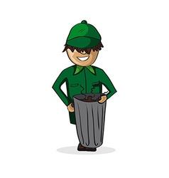 Profession garbage man cartoon figure vector image vector image