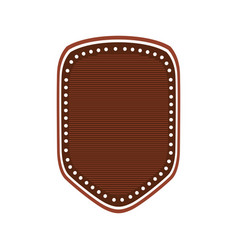 realistic brown color heraldic shield with striped vector image