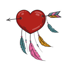 red indian heart with arrow and ornament vector image