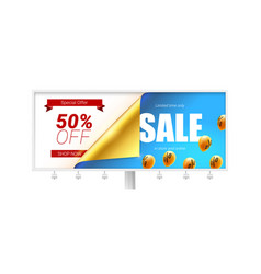sale fifty percent discount billboard with vector image