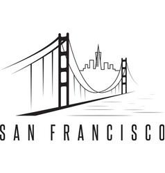 San francisco skyline and golden gate bridge vector