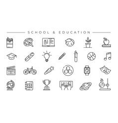 School and education concept line style vector