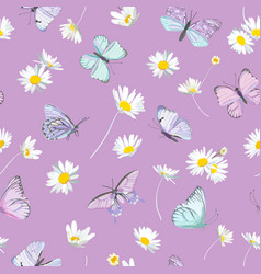 seamless daisy flowers and butterfly violet vector image