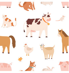 seamless pattern with farm domestic animals vector image
