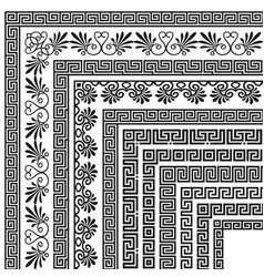 set corner brushes with traditional greek vector image