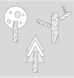 Set geometric trees abstract stylized vector