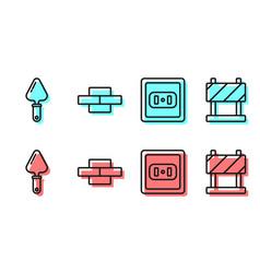Set line electrical outlet trowel bricks and vector