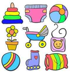 set of baby element set various doodles vector image
