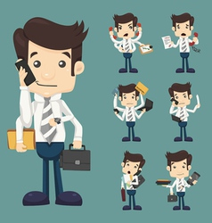 Set of businessman with many hands vector