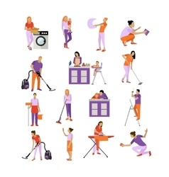 Set of cleaning service workers people vector