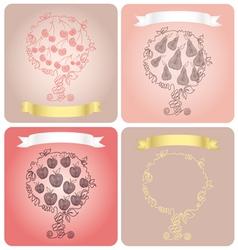 Set of stylized fruit trees vector