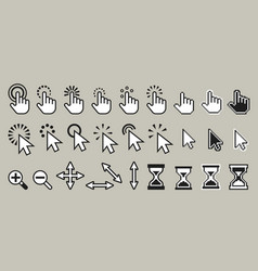 set pixel computer mouse cursor icons vector image