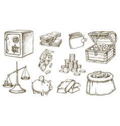 Set sketch money and banknotes wallet vector