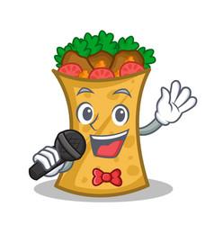 Singing kebab wrap character cartoon vector