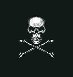 skull and crossbones pirate symbol or danger sign vector image