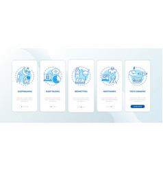Sleep problems blue onboarding mobile app page vector