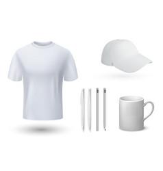 souvenirs mockup realistic t-shirt and cap mug vector image