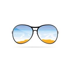 sunglass with beach art on a color vector image