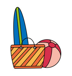 surfboard ball and bag beach vector image