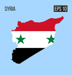 Syria map border with flag eps10 vector