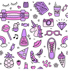 teenager girl favorite things pink pattern doodle vector image